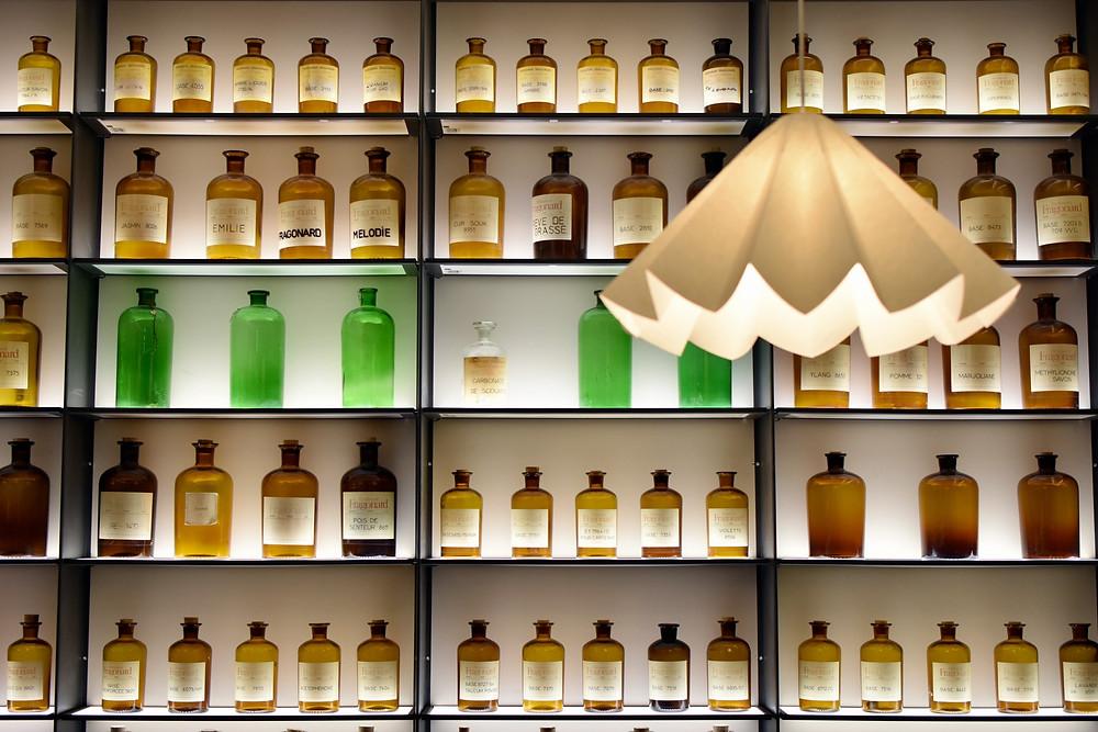perfume bottles at the Fragonard Perfume Museum in Paris