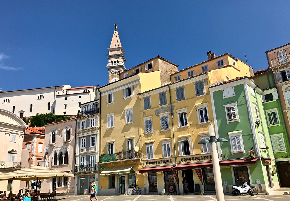 Tartini Square in Piran with the bell tower peeking through above