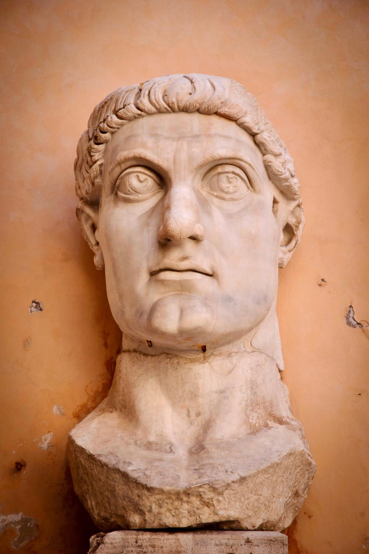 chunks of what was a massive 30 foot statue of Emperor Constantine in the the Palazzo dei Conservatori