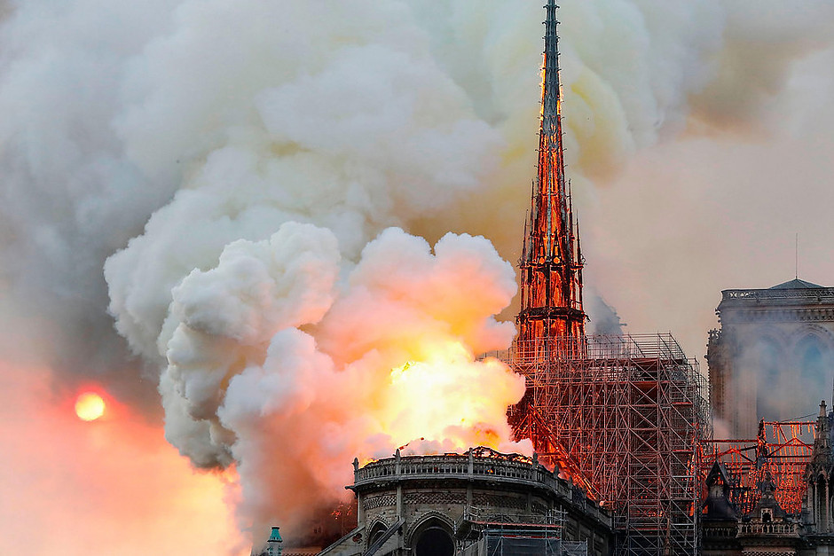 Notre Dame de Paris burning on April 15, 2019
