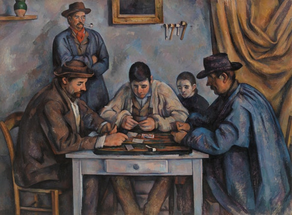 ,Paul Cezanne, The Card Players, ___ -- one of the most famous pieces of the Barnes Collection