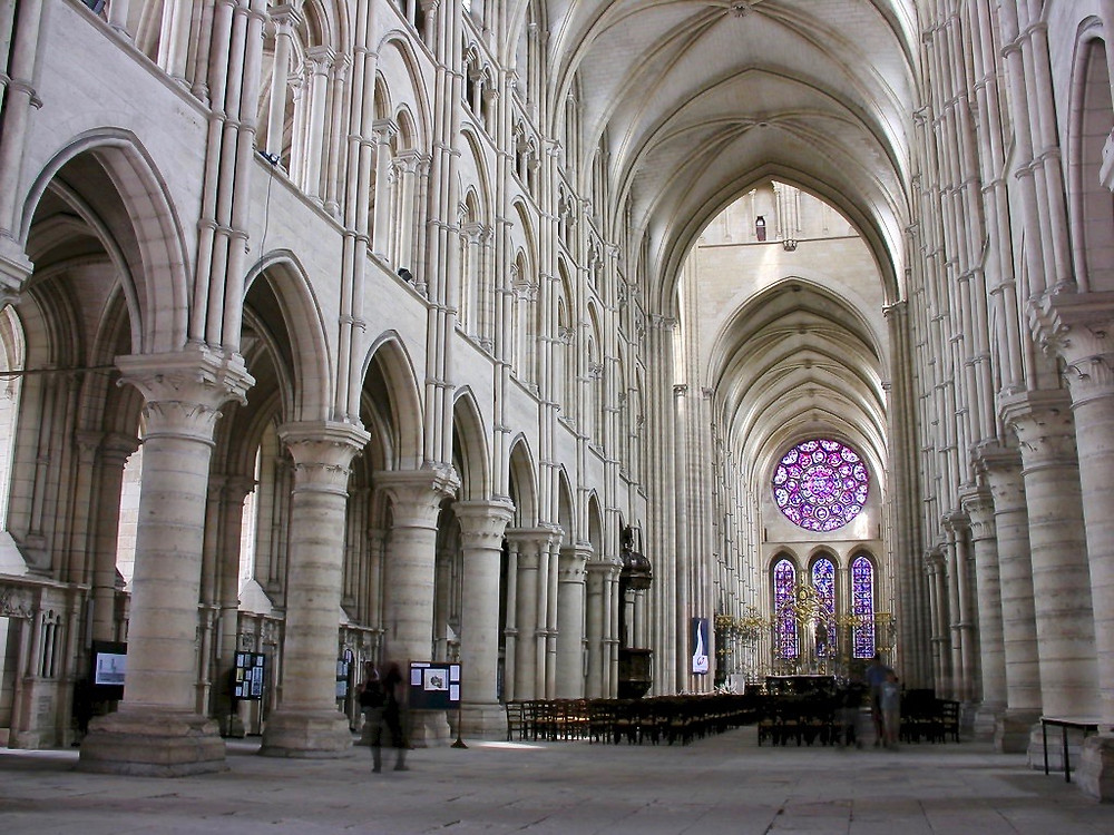 the luminous main nave inside Laon Cathedral