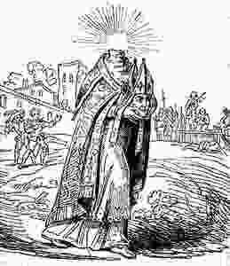 an artistic rendering of Saint Denis carrying his head on his 6 kilometer walk