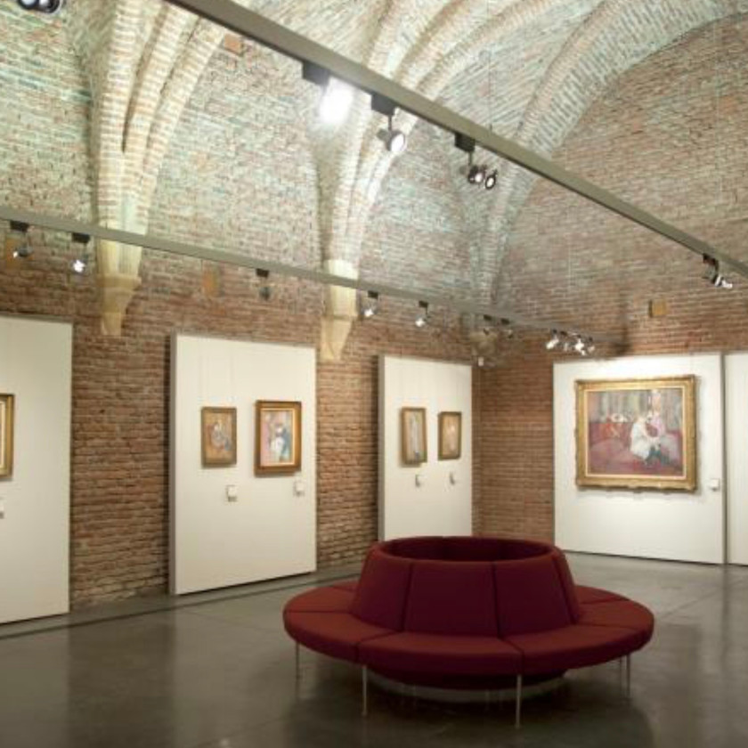 the rib vaulted interior of the Musee Toulouse Lautrec in Albi France