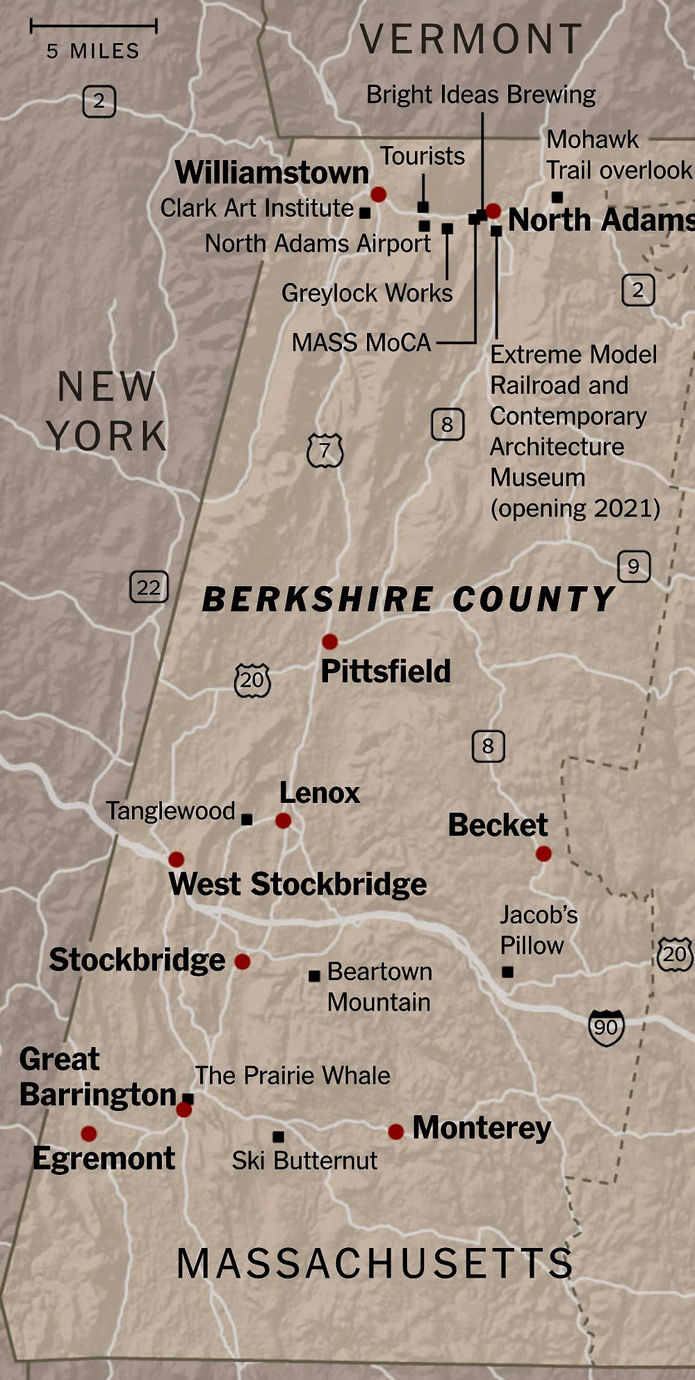 map of the Berkshires