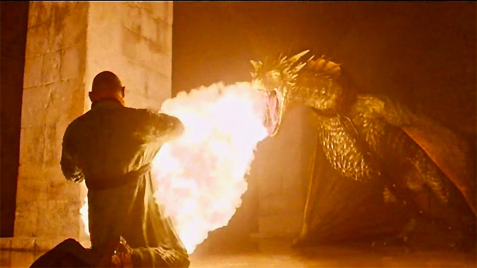 Daenerys' dragon scorching a master of Mereen in the cellars of Diocletian's Palace