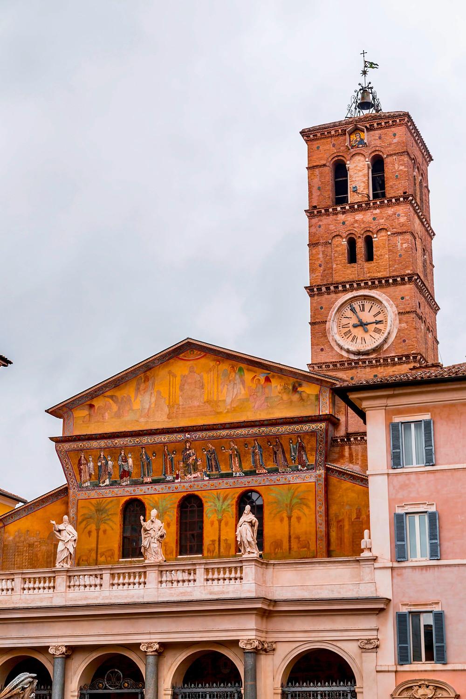 the frescoed facade of Santa Maria in Trastevere
