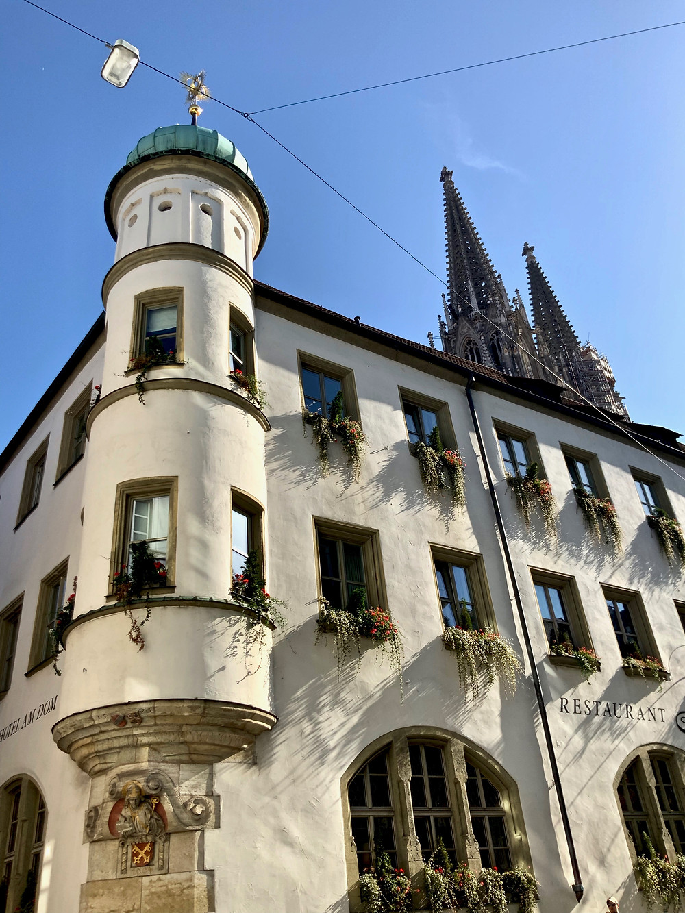 one of the many towers in Regensburg Germany