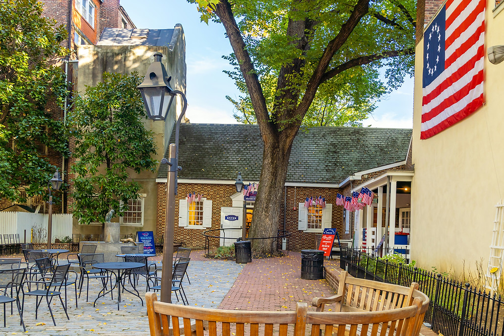 the Betsy Ross House, where the first U.S. flag was sewn
