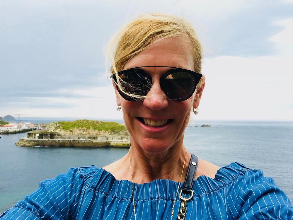 Leslie in the pretty seaside fishing village of Cudillero Spain