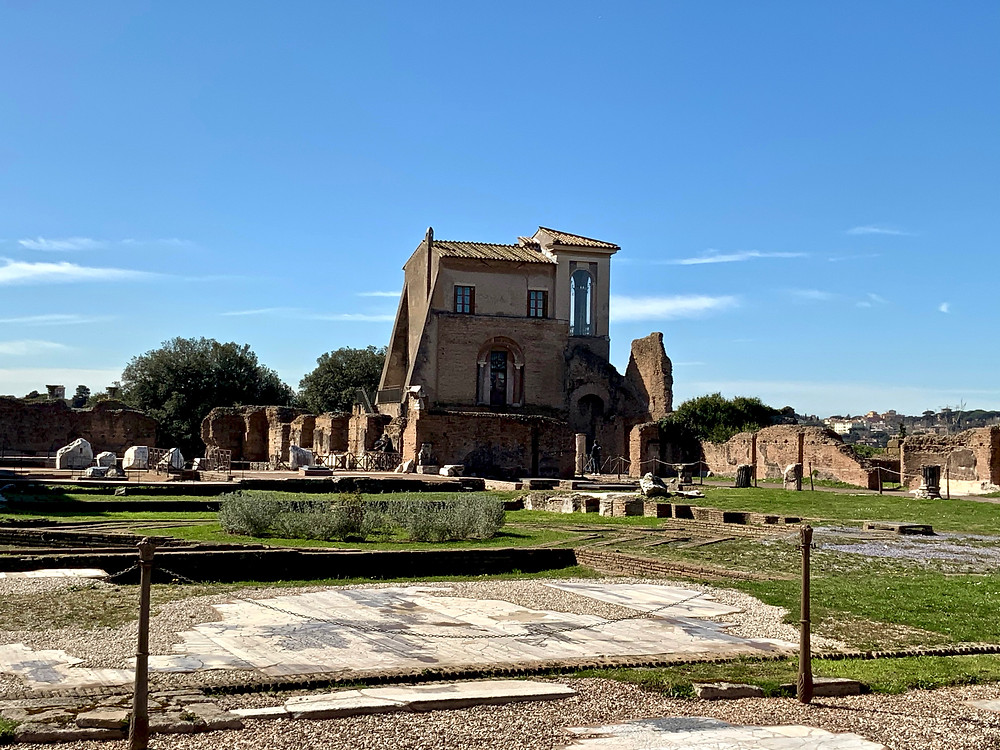 view of the Casina Farnese, currently undergoing conservation but intended one day as a small museum on Palatine Hill