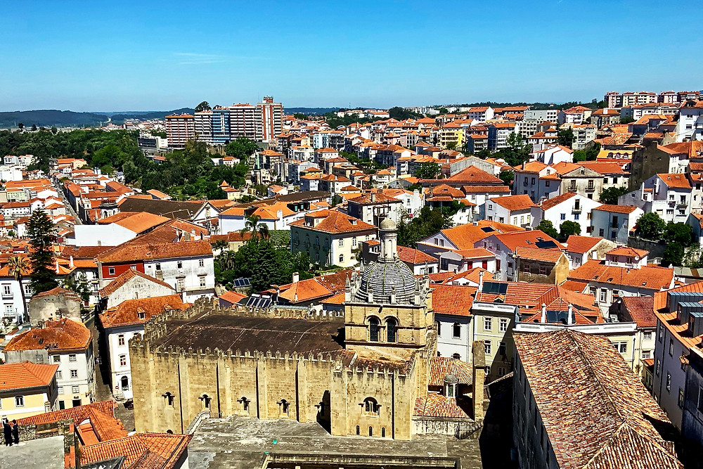 view from the palace balconies where you can see Coimbra's old 12th century Cathedral