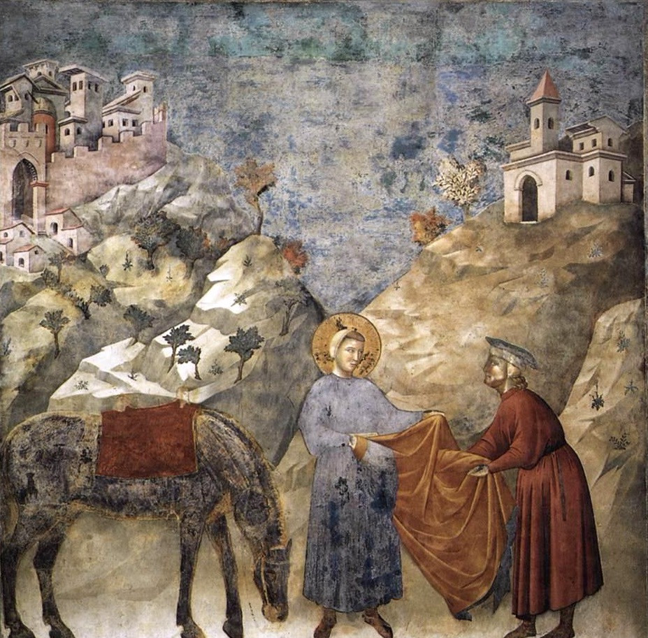 St. Francis gives his mantle to a poor man, 1297-99