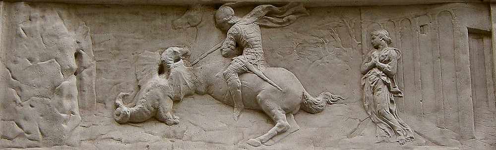 low relief panel on the base of St. George