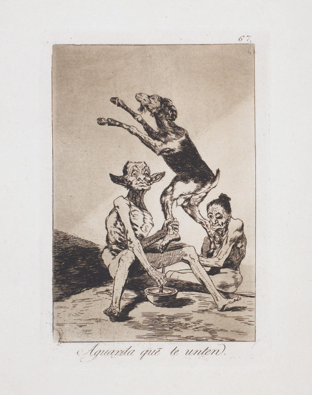 """Wait Till You've Been Anointed,"" 1799, Etching from Francisco Goya's ""Los Caprichos"" series."