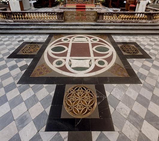 Verrochio-designed tomb of Cosimo the Elder de Medici in Florence's Basilica of San Lorenzo