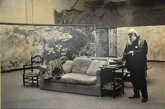 Monet in his Giverney studio working on his water lily paintings.  Image source: Wikimedia Commons