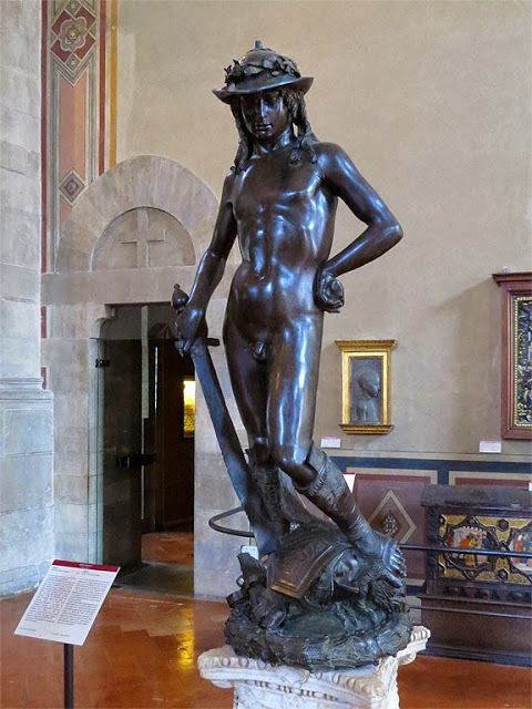 Donatello, Bronze David, 1440s -- once in the Palazzo Vecchio courtyard, now in the Bargello Museum