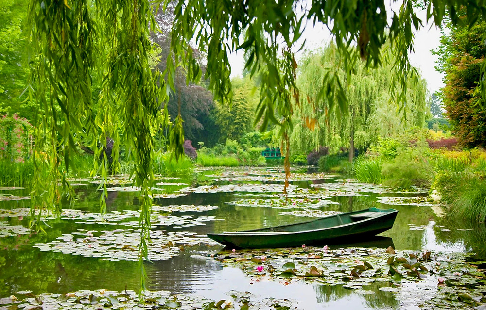 Monet's rowboat in his Water Garden in Giverny