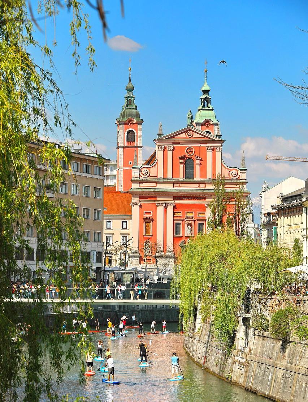 "the ""pink church"" of Ljubljana"