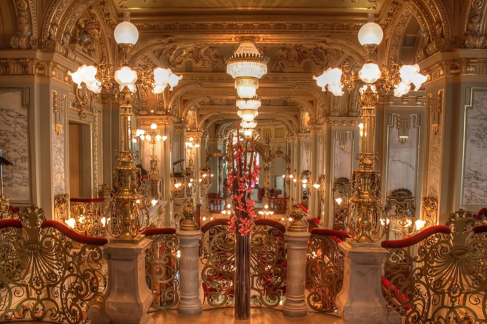 glamorous Renaissance interior of the New York Cafe