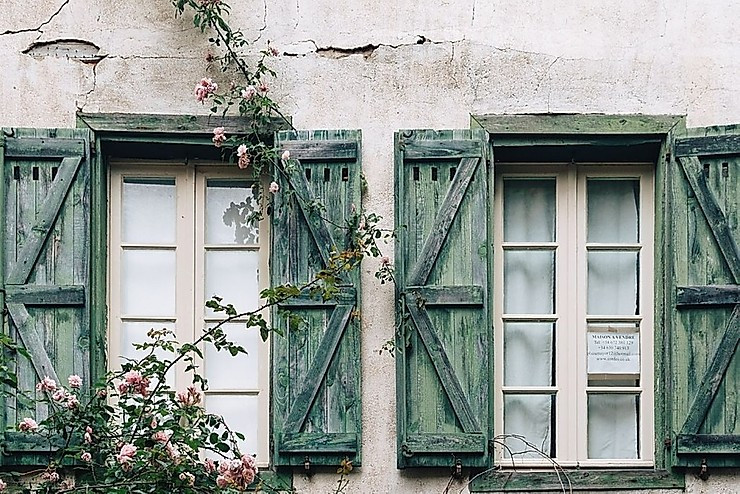 classic French shutters in Cordes-sur-Ciel France