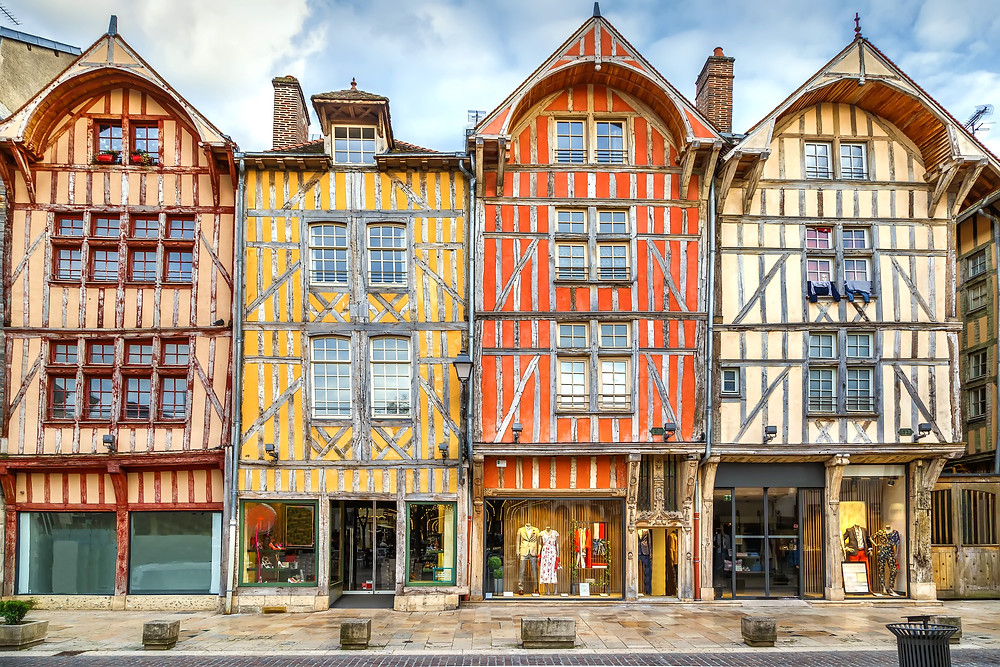 iconic half timbered houses on Place Alexandre Israel in Troyes France