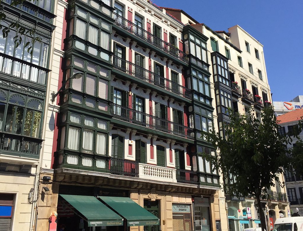 colorful facade in the El Ensache neighborhood of Bilbao