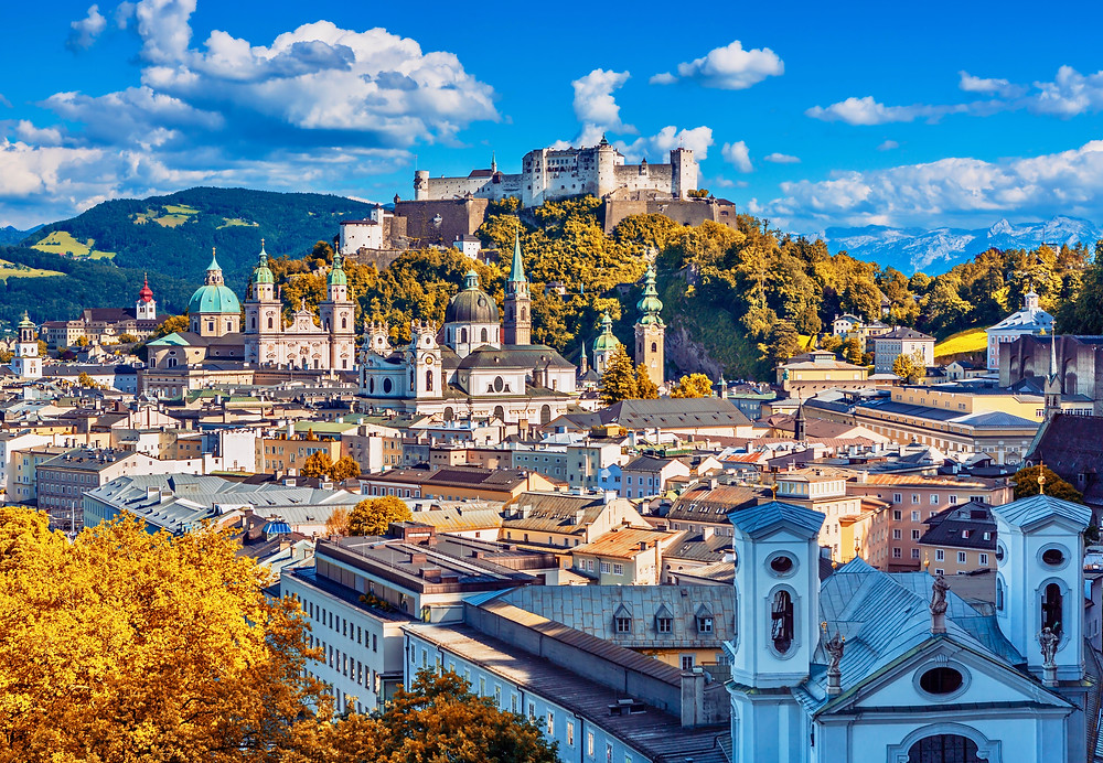 beautiful view of Salzburg with Festung Hohensalzburg towering above