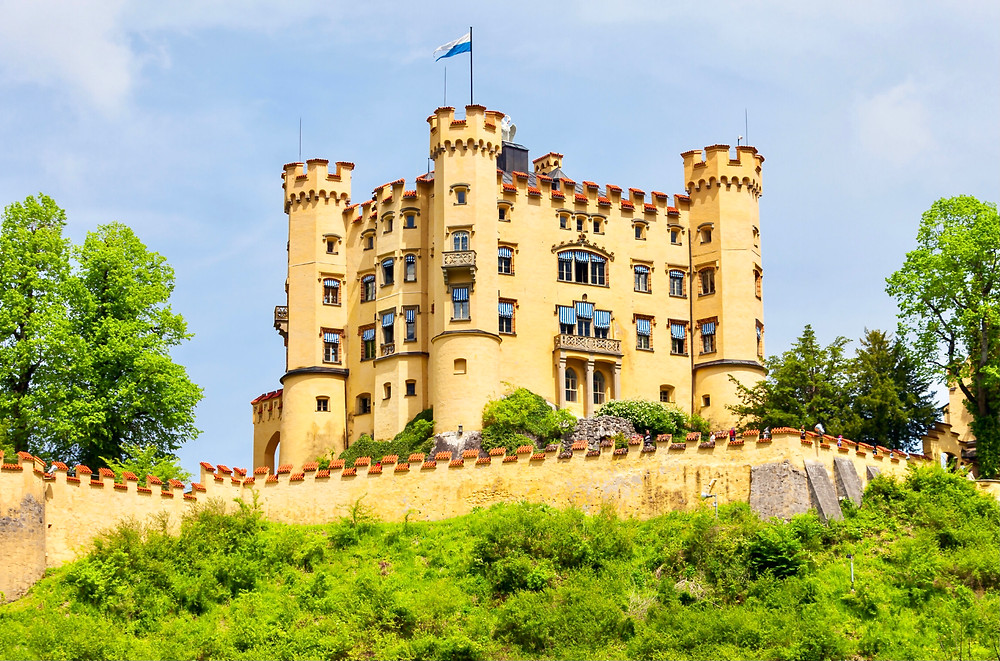 yellow facade of Hohenschwangau Castle