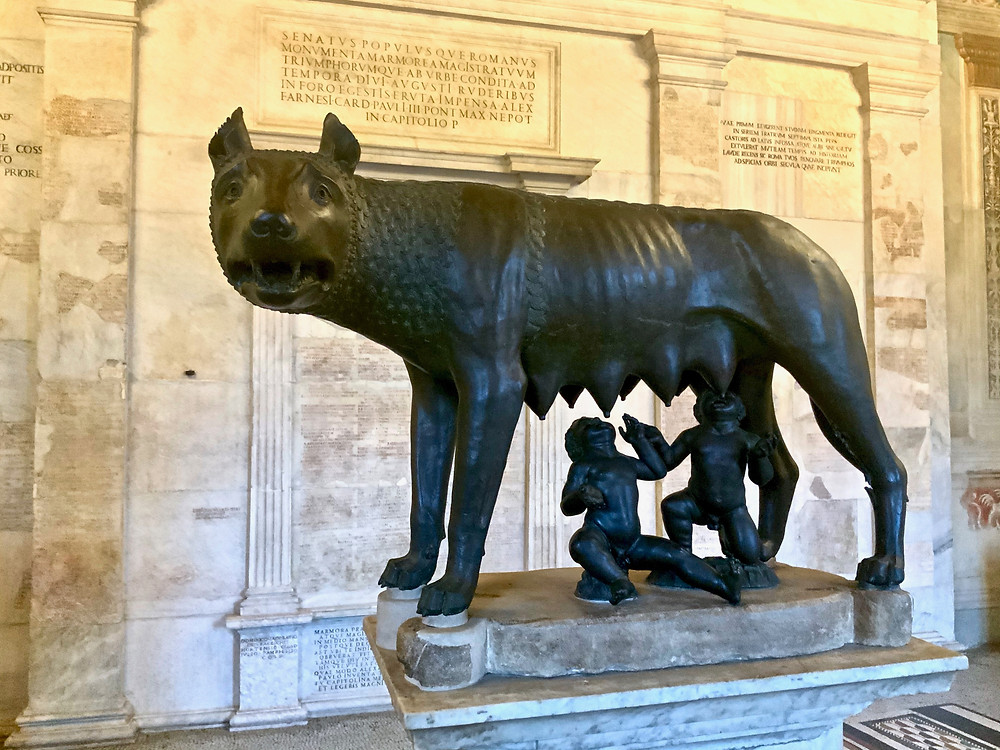 the Capitoline she-wolf who suckled the twins Romulus and Remus, the founders of Rome