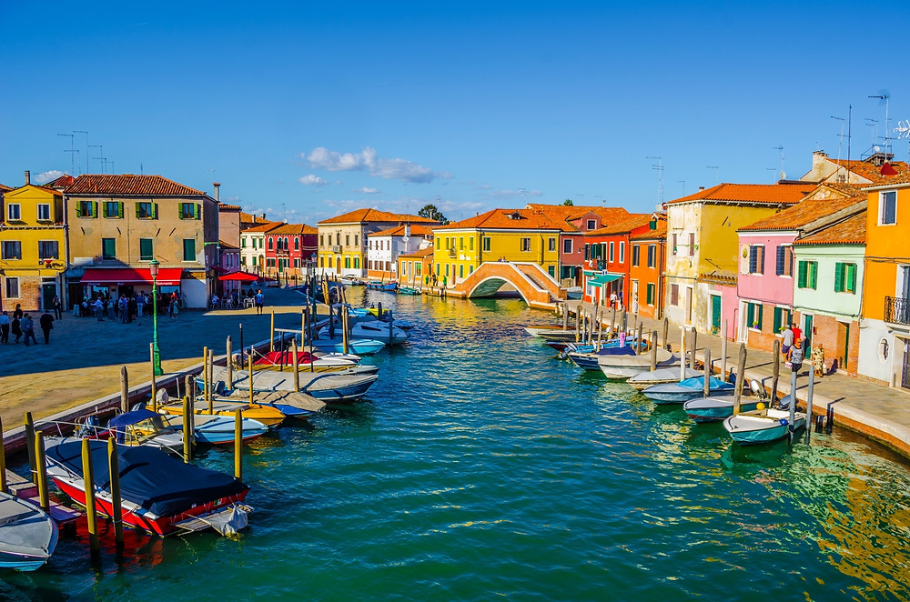 colorful homes on a channel in Murano