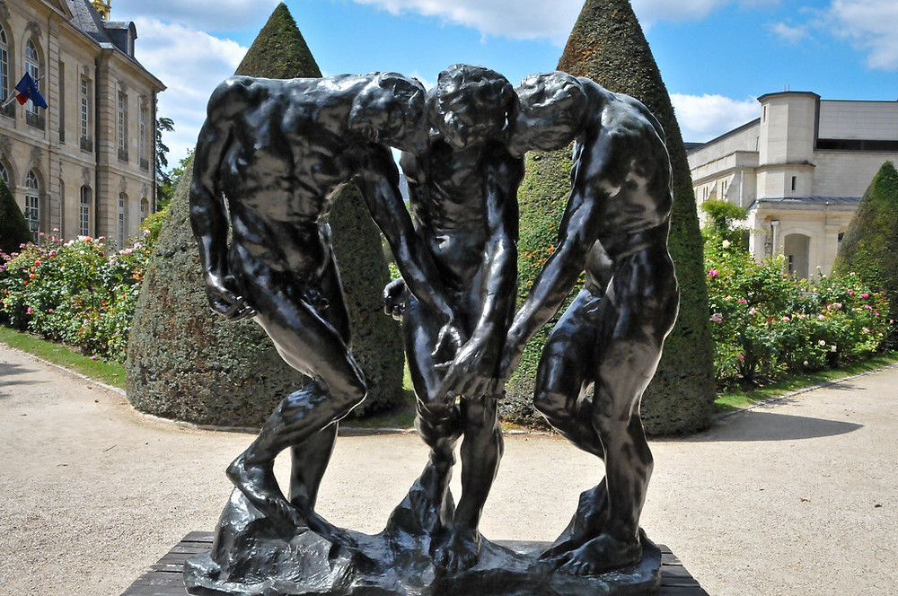 Auguste Rodin, The Three Shades, 1886, shown on Rodin's The Gates of Hell and in the Rodin Museum garden