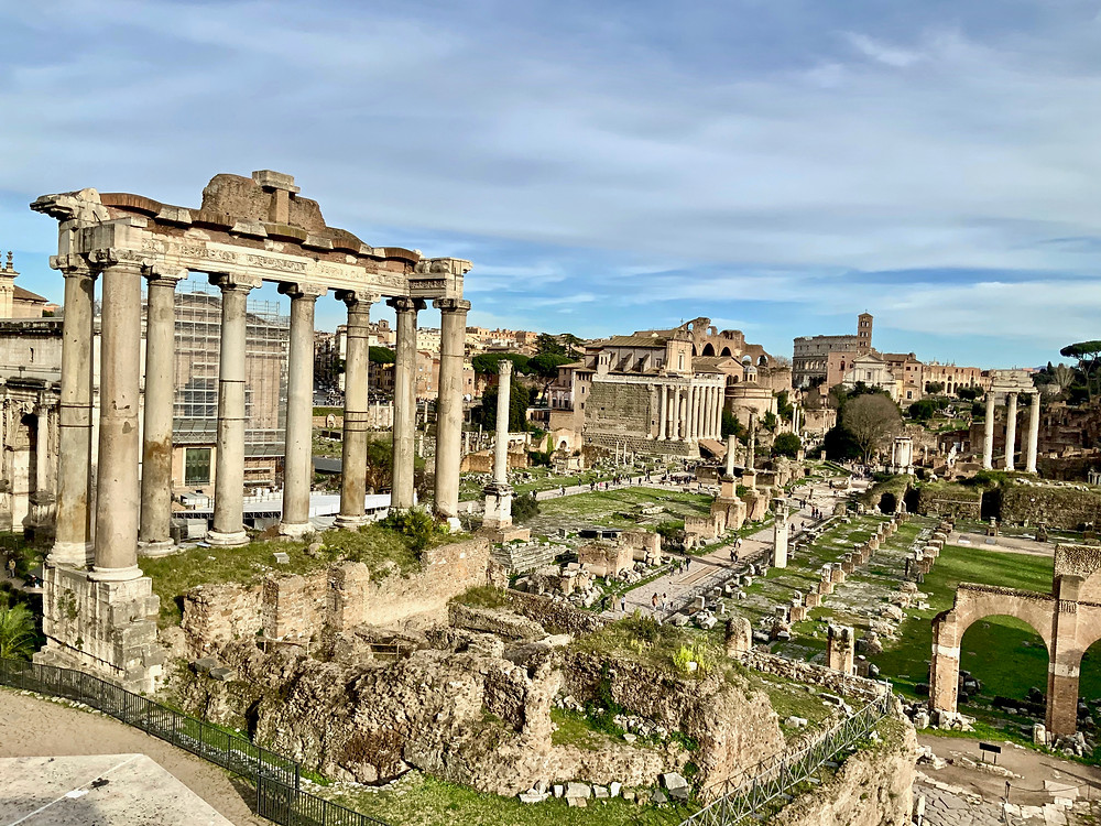 the Roman Forum, with the Temple of Saturn on the left