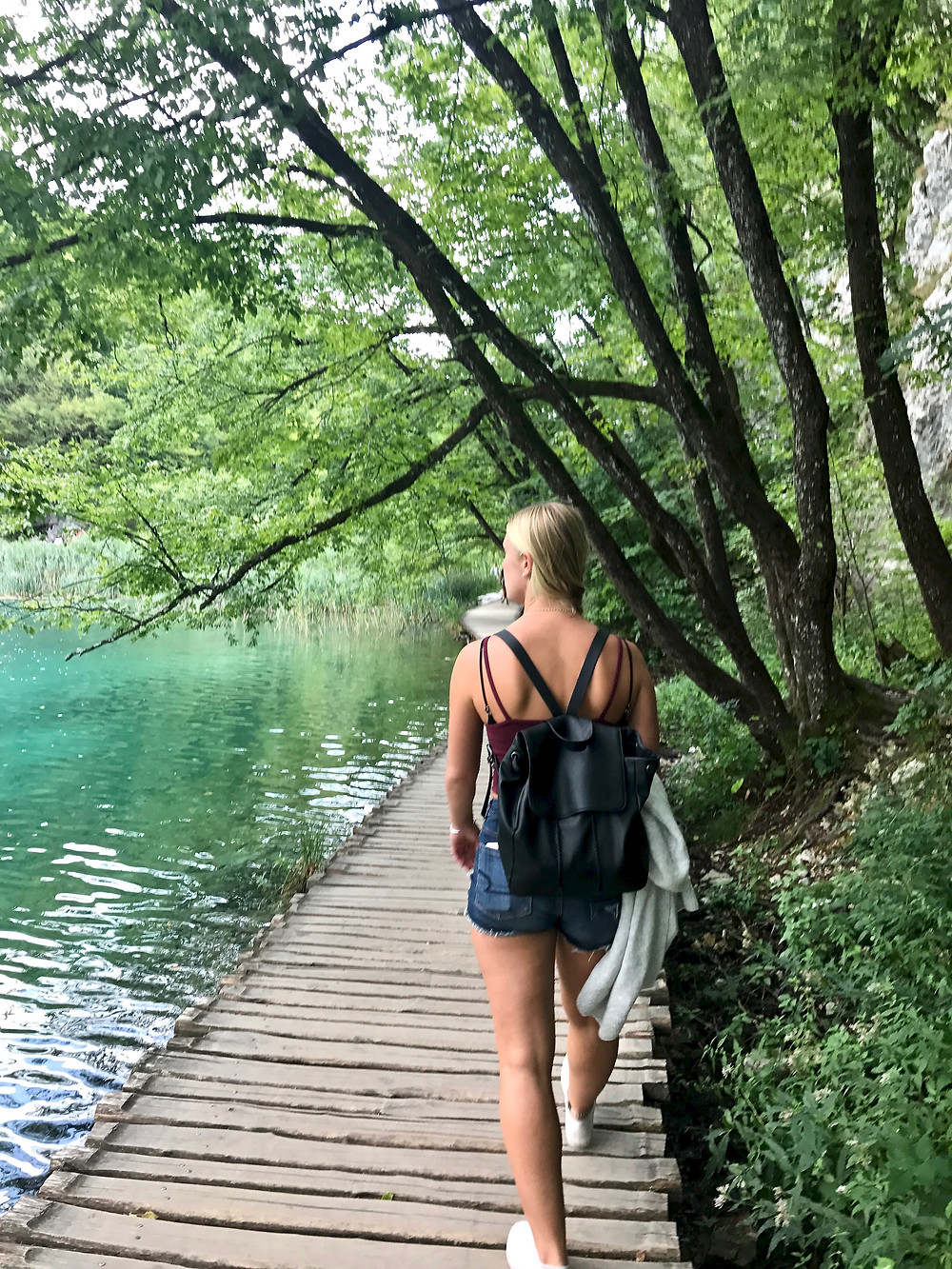 walking the boardwalks in the lower lakes of Plitvice