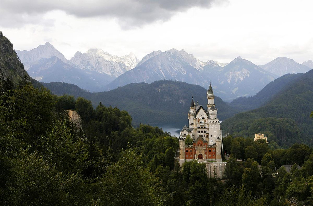 Neuschwanstein Palace, picturesquely set in the isolated Bavarian Alps