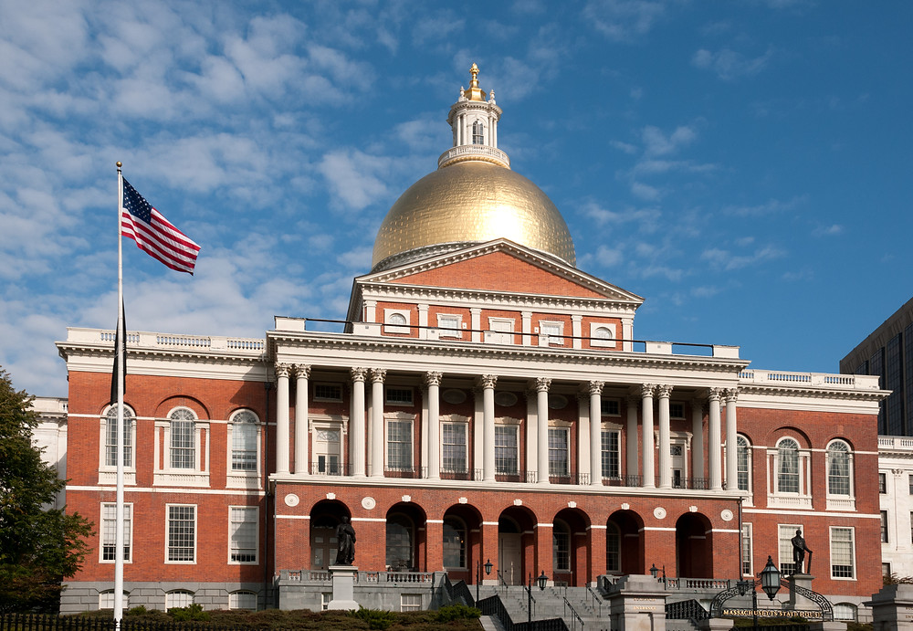 the Massachusetts State House, with its iconic gold dome