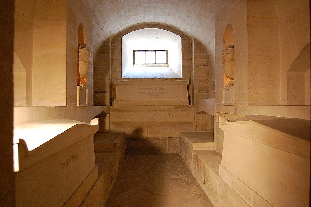 tombs of Dumas, Hugo, and Zola in the Pantheon crypt