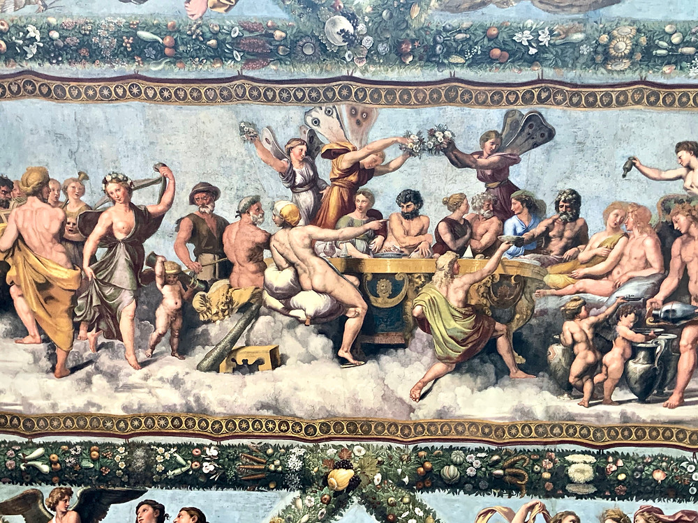 Raphael's fresco of the wedding feast of Cupid and Psyche in Villa Farnesina