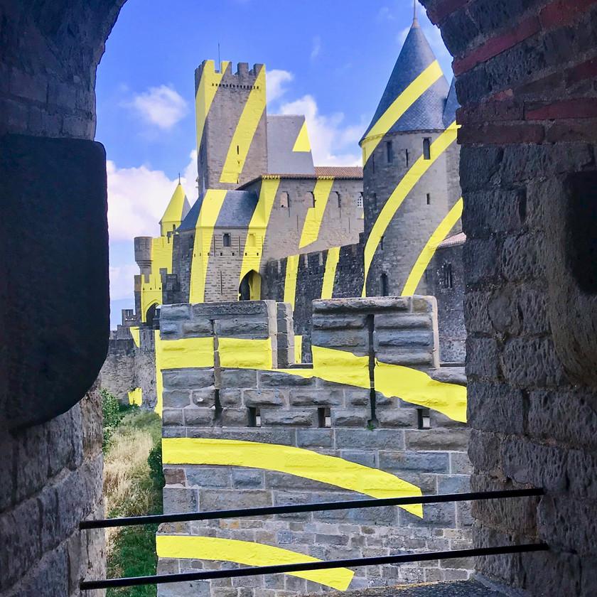 the Felice Varini installation in Carcassonne