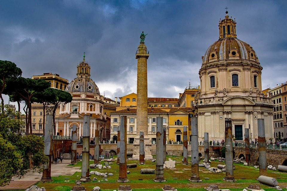 the remains of the Basilica Ulpia and Trajan's Column in the ruins of Trajan's Forum