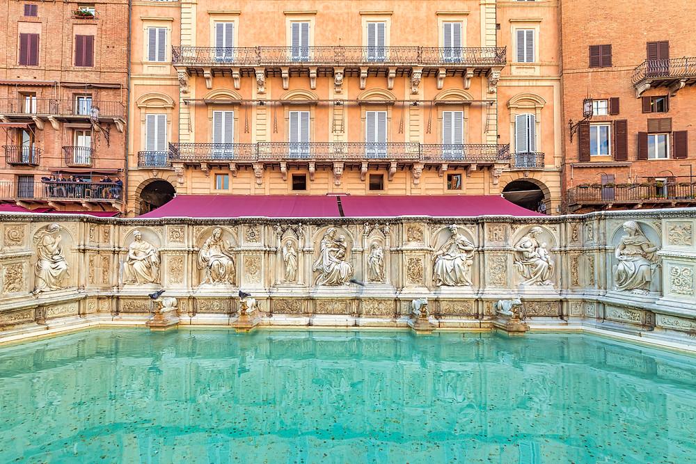 The Fonte Gaia, a monumental fountain located in the Piazza del Campo
