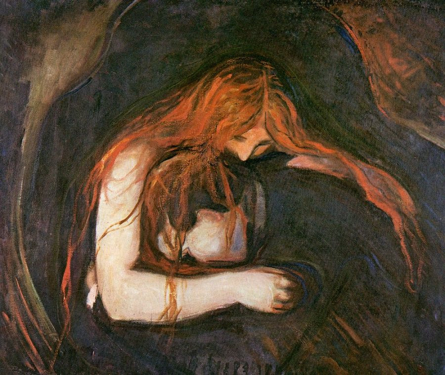 Edvard Munch, Vampire, 1895 -- this painting is sometimes nicknamed Vampire and shows his pain at the end of his first love affair