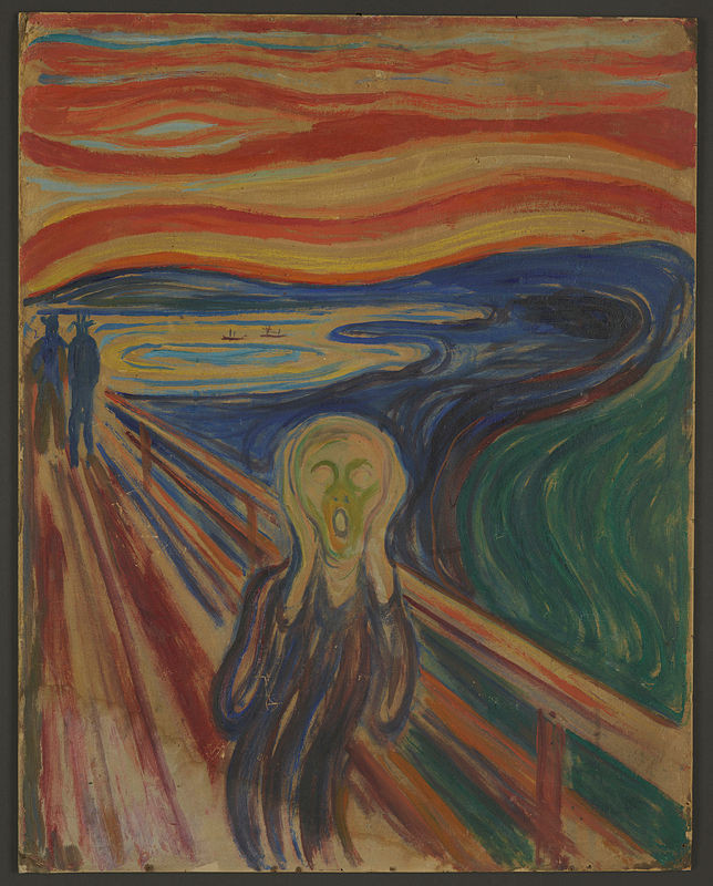 Edvard Munch, The Scream, 1910 -- the version stolen from the Munch Museum and eventually recovered with some damage