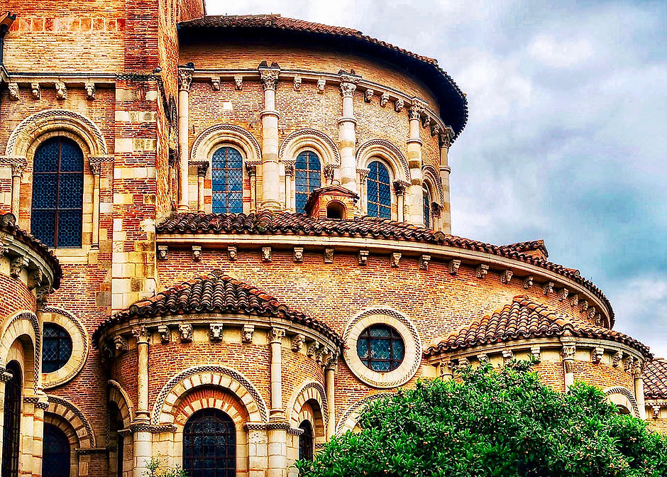 detail of the UNESCO site, the 11th century Basilica of Saint Sernin