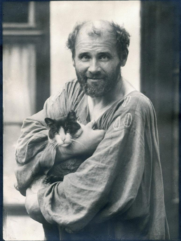 Klimt in his flowing caftan, which was his work outfit of choice