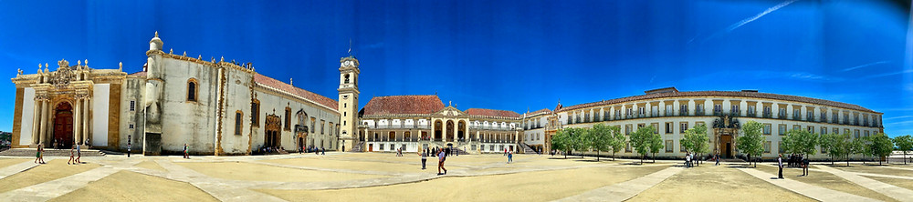the glittering university buildings of Coimbra Portugal