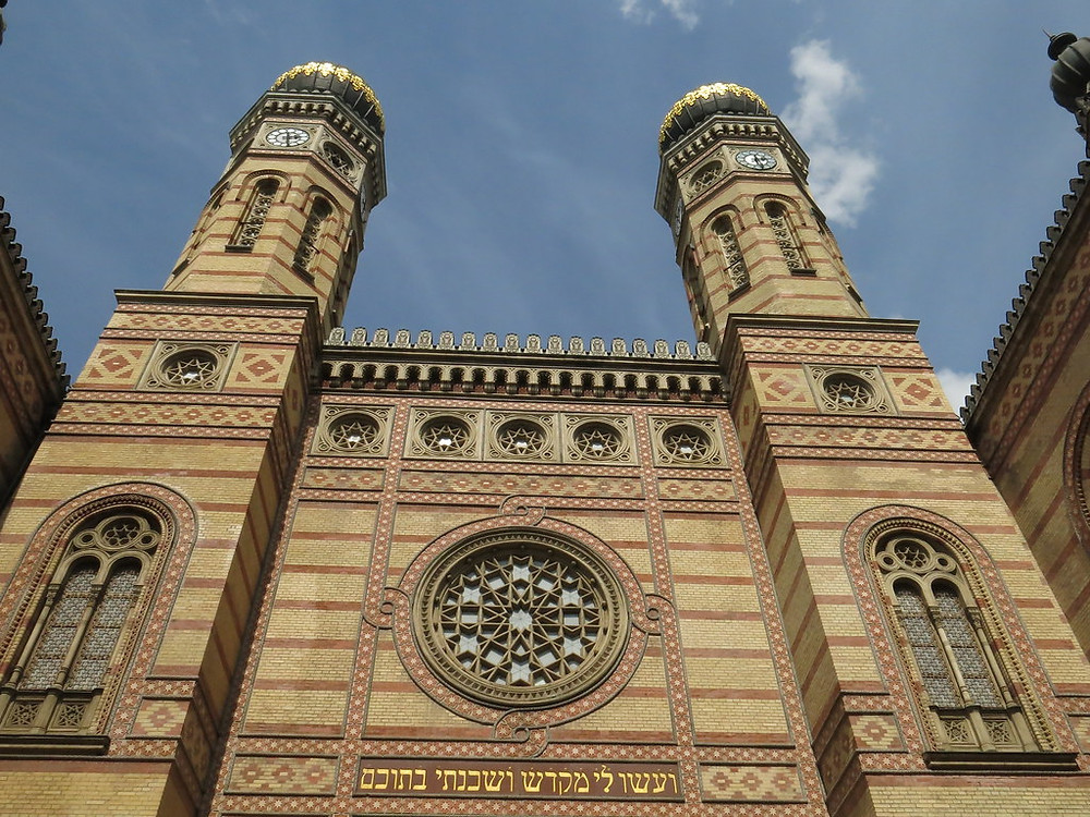 facade of the Dohány Street Synagogue in Budapest's Jewish Quarter