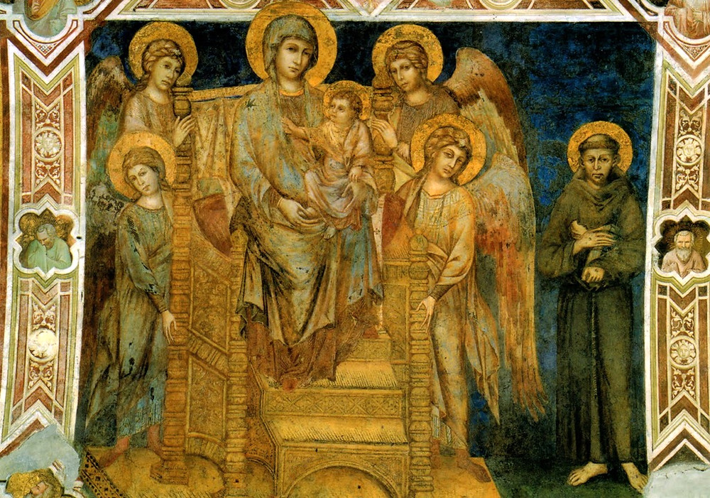 Cimabue's Maesta, Enthroned Madonna with Angels and St. Francis