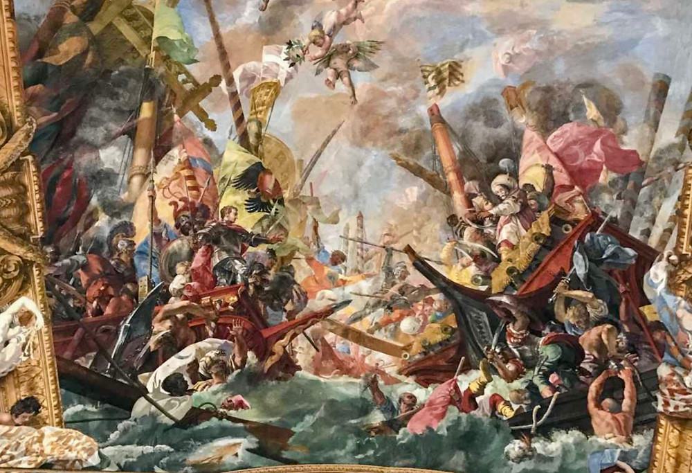 ceiling fresco of the Battle of Lepanto in the Great Hall of Palazzo Colonna
